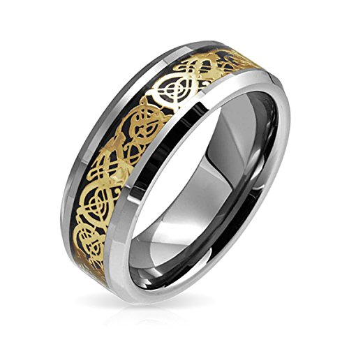 Bling Jewelry Mens Tungsten Comfort Fit Noir plaqué Or 14K Motif Dragon Celtique encastré à Bague de Mariage 8 MM Bande
