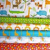 3 Wishes Safari 3WISHFB09-6 Fat Quater mit Safari-Tieren,