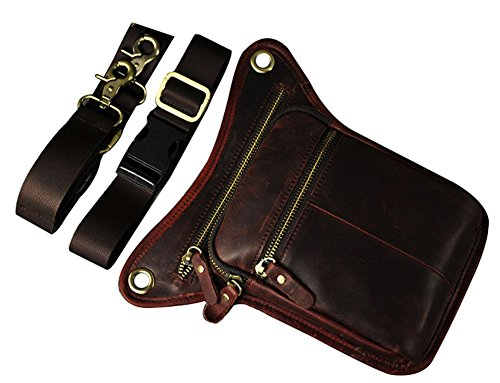 Genda 2Archer Utility Cross Over Tasche Leder Taille Bein Tasche (Braun 5) Rot Braun