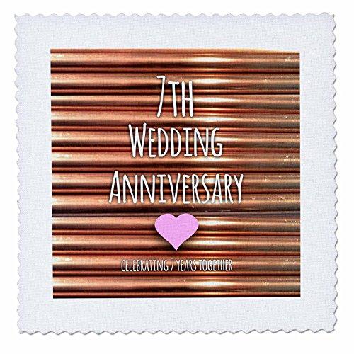 3dRose 7. Hochzeitstag Geschenk-Kupfer 7Jahre zusammen-Seventh Jahrestage Sieben, Quilt, Platz, 8von 8Zoll (QS 154436_ 3)