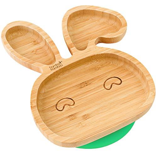 Piatto per bambini e neonati bambù naturale con ventosa per tenerlo fermo forma di coniglio