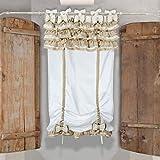Tenda Finestra Shabby Chic Doppio Fiocco Collection 60 x 160 Colore Bianco Beige