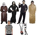 Ilovefancydress - Disfraces de familia gótica de cine y televisión (señor gótico, señora gótica, tío calvo, primo peludo, niña gótica y niño gótico)