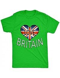 8TN Love Britain - Heart Flag British Flag Map Royal Wedding Harry & Meghan Mens T Shirt
