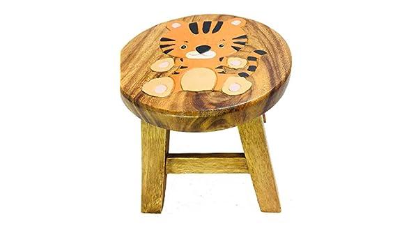 MyFamilyHouse Tabouret en Bois Peint /à la Main pour Enfant Motif Tigre