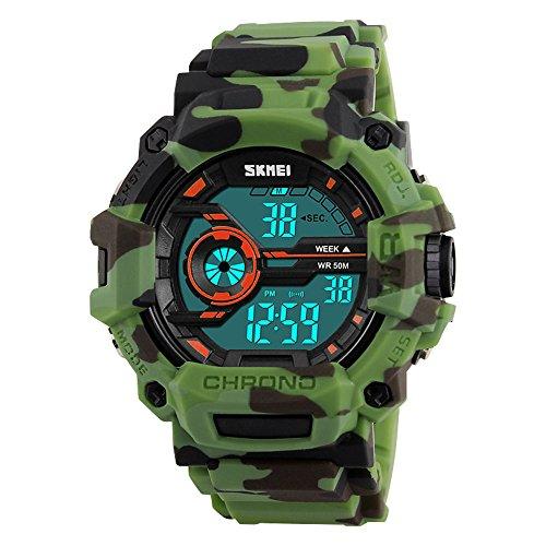 Reloj Digital para niños Camuflaje Azul Deportivo Estilo Militar Alarma LED retroiluminación cronómetro...