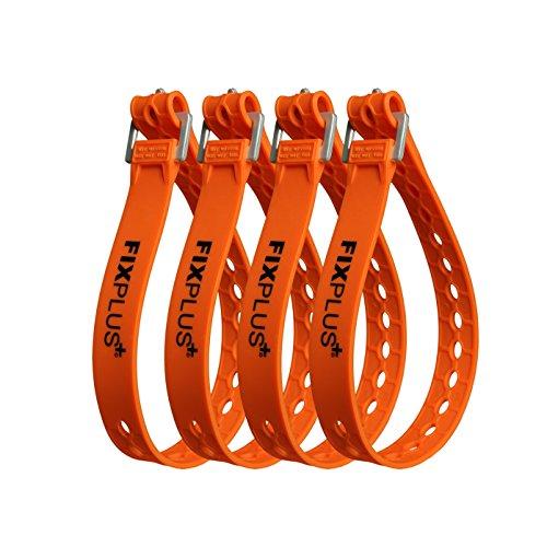 Fixplus Strap 4er-Pack - Zurrgurt Zum Sichern, Befestigen, Bündeln und Festzurren, aus Spezialkunststoff mit Aluminiumschnalle 46cm x 2,4cm (orange)
