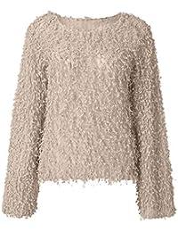 JiaMeng Damenmode Aufflackernhülse Solid O-Neck Sweater Kirsche Kaschmirbluse