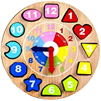 Jaques of London Shape Sorting Teaching Clock Wooden Toys for Over 220 Years - Great Montessori toys for All Children Boys and Girls 1 2 3 4 Year Olds - Quality Guaranteed