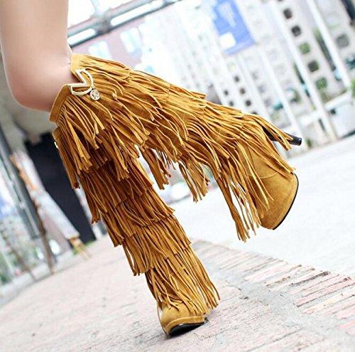 Alto Botas De Franja Salto Botas Outono Inverno Amarelo Senhoras 6qw6Xr