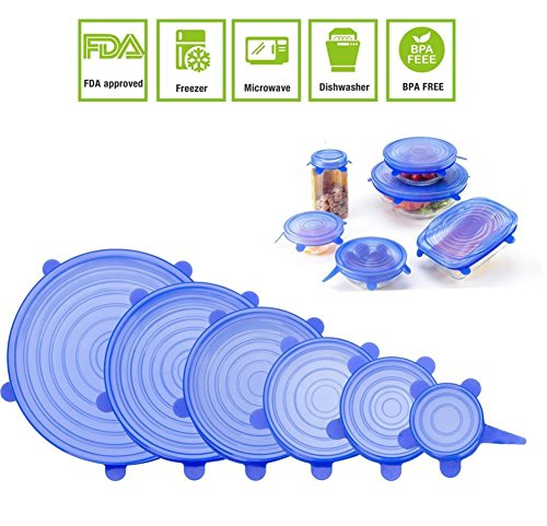 JJLng Silicone Stretch Lids, FDA silicone cover Keeping Food Fresh Fit Various Sizes and Shapes of Containers 6pcs-Pack (blue)