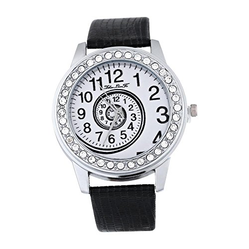 Montres pour les femmes, montre-bracelet analogue de quartz d'unité centrale de montre de quartz d'unité centrale de montre en cuir(Black)