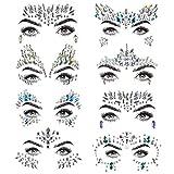 Gemme viso, 8 set Adesivi faccia strass Gioielli, Donne Sirena Rave Festival Cristalli Glitter, Autoadesivi Tatuaggi temporanei Sopracciglio Viso Gioielli corpo per Dress-Up Costume Festival