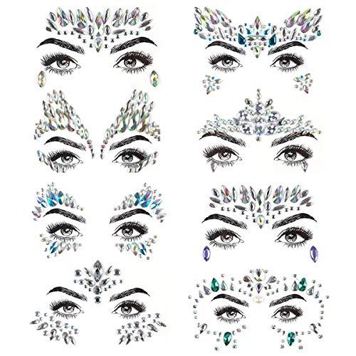 Proacc Gesicht Edelsteine, 8 Stück Gesicht Jewels Strass Aufkleber, Frauen Meerjungfrau Rave Festival Kristalle Glitter, selbstklebende temporäre Tattoos Augenbraue Gesicht Körperschmuck
