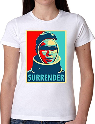 T SHIRT JODE GIRL GGG22 Z1924 SURRENDER POP ART SPACE MISSION STAR FUN FASHION COOL BIANCA - WHITE