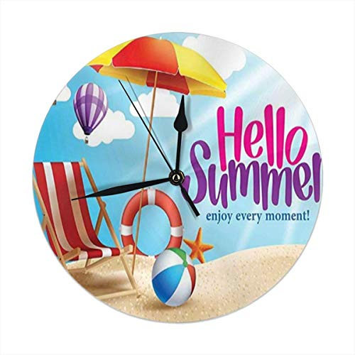vbcnmbnv Wall Clock,Hello Summer Enjoy Every Moment Quote with Sandy Beach Umbrella Holiday Design Silent Non Ticking Battery Operated Round Easy to Read Home,Office,School Clock