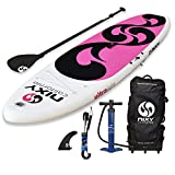 NIXY Beginners and Yoga Inflatable Stand Up Paddle Board. Ultra Light 10'6 Venice Paddle Board Built with Advanced Fusion Laminated Dropstitch Technology (Rosa)