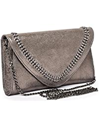 Jasbir Gill Envelope Clutch With Chain & Whipstitch Detail, JGSLCL-421