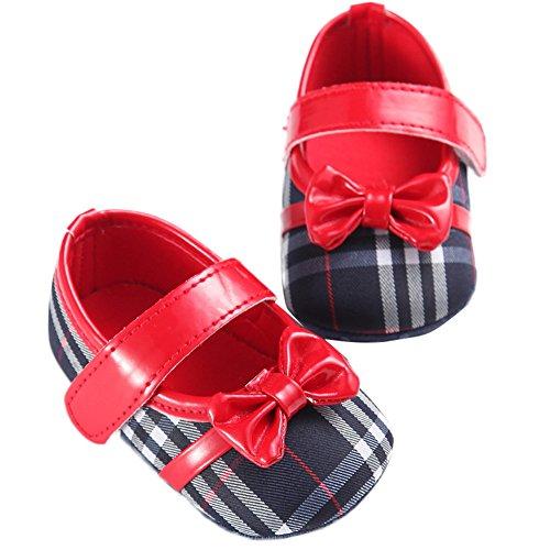 WAYLONGPLUS süße Baby-Kind-Mädchen Schleife PU Prewalkers Anti-Rutsch Babyschuhe Blau