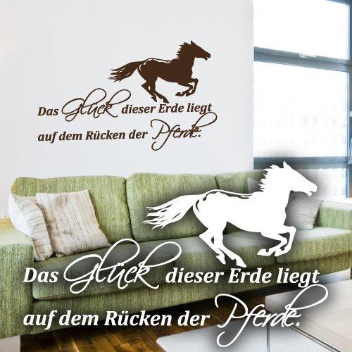 """Wandkings Wandtattoo """"Das Glück dieser Erde liegt auf dem Rücken der Pferde. (mit galoppierendem Pferd)"""" 50 x 30 cm – erhältlich in 33 Farben und 5 Größen"""