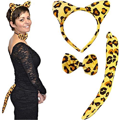 eoparden Set ┃ 3 teilig ┃ Kostümset ┃ Karneval / Fasching (Leopard Ohren Und Schwanz Kostüme)