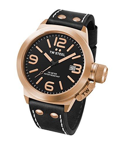 Reloj Cuarzo TW Steel para Hombre con Negro Analogico Y Negro Cuero CS72
