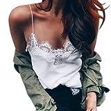 LHWY Chaleco De Gasa Y Encaje para Mujer, Mujer Chaleco De Tirantes Finos Camisetas Sin Mangas De Cuello En V Sexy Ropa (Blanco, M)