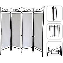 Todeco - Biombo de 4 paneles, metal lacado