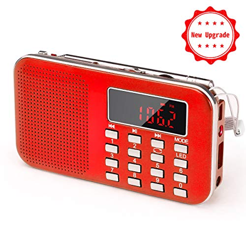 PRUNUS L-218AM-Red FM AM Radio mit Micro TF Card USB MP3, Rot (Am Fm Radio Akku)