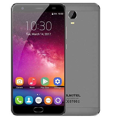 OUKITEL K6000 Plus - Android 7.0 6080mAh Akku 5,5 Zoll Smartphone 4GB RAM 64GB ROM MTK6750T Octa Core 1.5GHz 8.0MP + 16.0MP Kamera Front Fingerabdruck GPS Grau