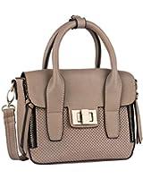 SIX beige kleine Damen Handtasche Mini Bag Henkeltasche mit abnehmbaren größenverstellbaren Umhänge-Riemen, Innenfach mit Reißverschluss (427-396)