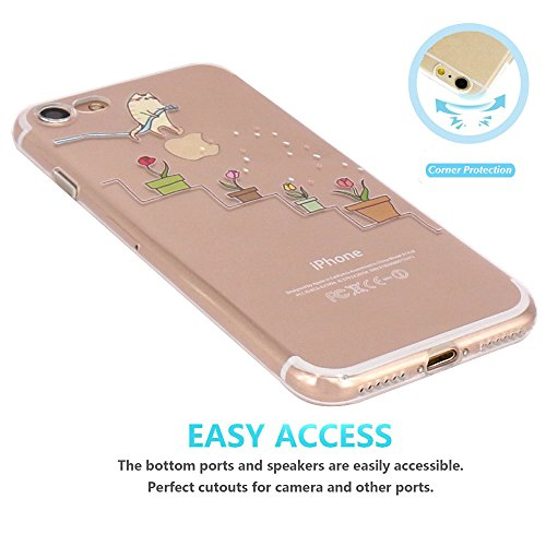 iPhone 7 Hülle, iPhone 8 Hülle, JIAXIUFEN TPU Silikon Schutz Handy Hülle Handytasche HandyHülle Etui Schale Schutzhülle Case Cover für Apple iPhone 7 /iPhone 8 - Giraffe Eating Cat watering flowers