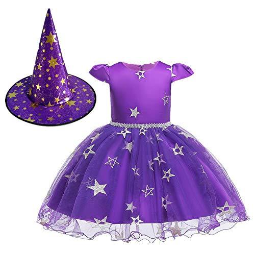 Kostüm Echo Cosplay - GSYClbf Kinder Mädchen Einzigartige Kreativität Exquisite Fashion Schleife Prinzessinnenkleid Halloween Party Cosplay Kostüm mit Hexenhut 80cm violett