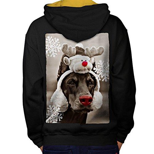 Komisch Hund Hirsch Weihnachten Rentier Men S Kontrast Kapuzenpullover Zurück   Wellcoda (Heilige Hund Kostüm)