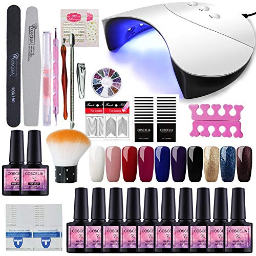 Saint-Acior 36W Lámpara Secador de Uñas UV/LED Nail Dryer 10PCS Esmalte Semipermanente Soak off 8ml...