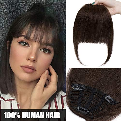 Extension frangia capelli veri clip #2 marrone scuro - frangetta 100% remy human hair lisci umani one piece hair bang fringe fascia unica 25g