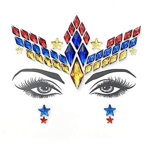 Tattoo Aufkleber Für Frauen, Bunte Kühle Gesichts-Edelsteine Ungiftige Vorübergehende Übertragung Tätowierung Für Berufsmake-uptänzer-Kostüm-Parteien - Sich Kleiden Wie Ein Mann Kostüm