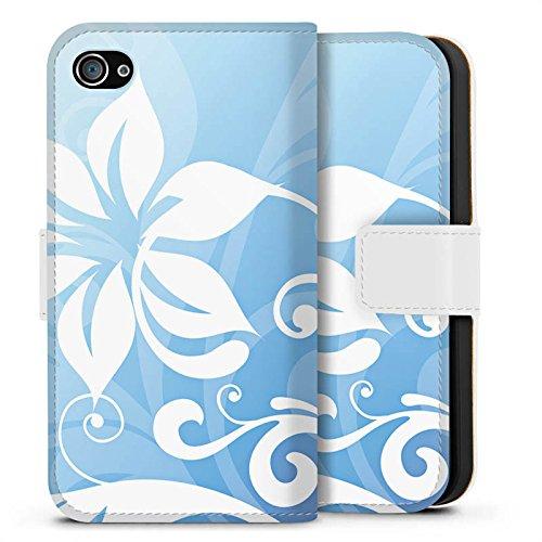 Apple iPhone X Silikon Hülle Case Schutzhülle Blume Ornament Floral Sideflip Tasche weiß