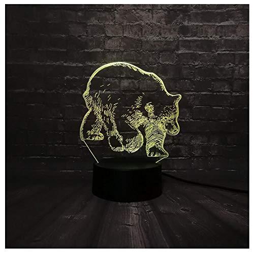 Weihnachten 3D LED Nachtlicht Tier schwarzer Bär USB Lampe Schlaf Licht 7 Farbwechsel Weihnachtsgeschenk USB BaseLampen für Kinder Illusion -