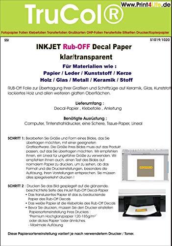 10 Blatt Inkjet Decal Papier Transfer Folie DIN A4 KLAR TRANSPARENT für Tintenstrahldrucker für Papier/Leder/Kunststoff/Kerze/Holz/Glas/Metall/Keramik/Stoff - (Trocken-Transfer) -