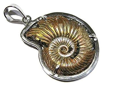 pendentif nacre ammonite argent 925%