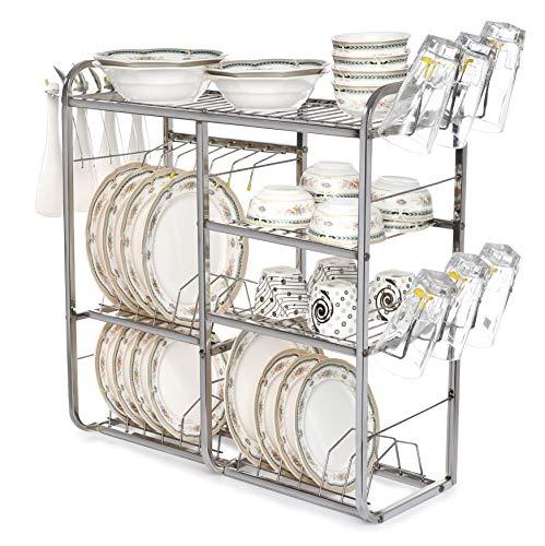 Home Creations 24 Inch Wall Mount Kitchen Dish Rack Plate Cutlery Stand / Kitchen Utensils Rack / Modern Kitchen Storage Rack