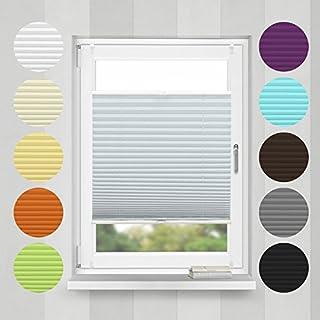 Home-Vision Plissee Faltrollo ohne Bohren mit Klemmträger / -fix (Silber, B95cm x H120cm) Blickdicht Sonnenschutz Jalousie für Fenster & Tür