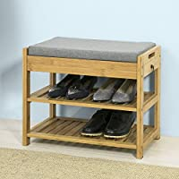 SoBuy® FSR49-N, Bamboo Shoe Rack Shoe Bench with Lift Up Bench Top and Seat Cushion, Hallway Shoe Storage Bench Organizer with Drawer