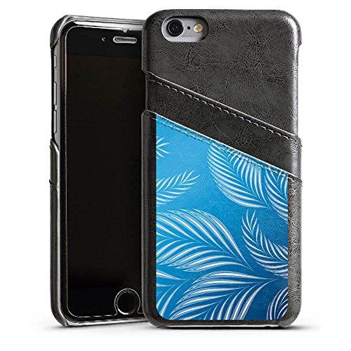 Apple iPhone 4 Housse Étui Silicone Coque Protection Palmiers Feuilles Bleu Étui en cuir gris