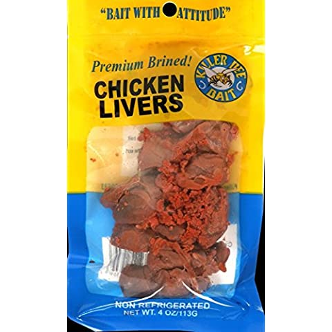Killer Bee Bait Brined Chicken Livers 4 Ounce - Non Refrigenrated/High Quality