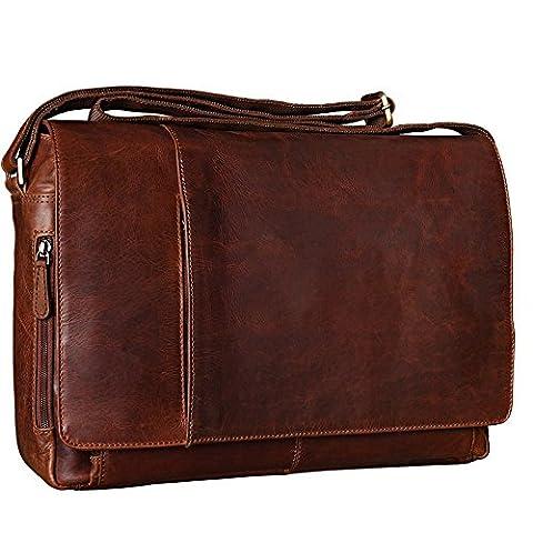 Leder Laptoptasche Herren Damen Unitasche Notebook Aktentasche Businesstasche Schultertasche Umhängetasche Groß 17.3 Zoll Büffel Leder, Cognac braun, Hergestellt in Italien