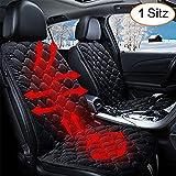 STYLINGCAR Sitzheizung Auto Sitzkissen Beheizbar Sitzauflage schwarz/Kaffee + Steckdose, für Fahrersitz, Beifahrersitz, Rücksitz (1 schwarzes Vordersitzkissen)