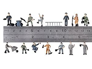 Veroda 25pcs Painted Model Train Railway Workers People Figures with Ladder and Bucket