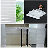 TOTAL HOME :New Privacy Stripe Frosted Home Bedroom Bathroom Glass Window Film Self Adhesive (Color: White)